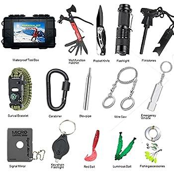 JTSrtsh Kit de Survie d'urgence 15 en1 avec Outils Multifonction, Couteau Pliant, Lampe de Poche, Allume Feu, Camping, Paracorde pr Randonnée