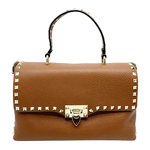 Valentino Rockstud Bright Coganc Signle Handle Brown Handbag Bag Italy New