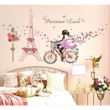 Coloridas mariposas bicicleta chica pegatinas de pared de vinilo ...