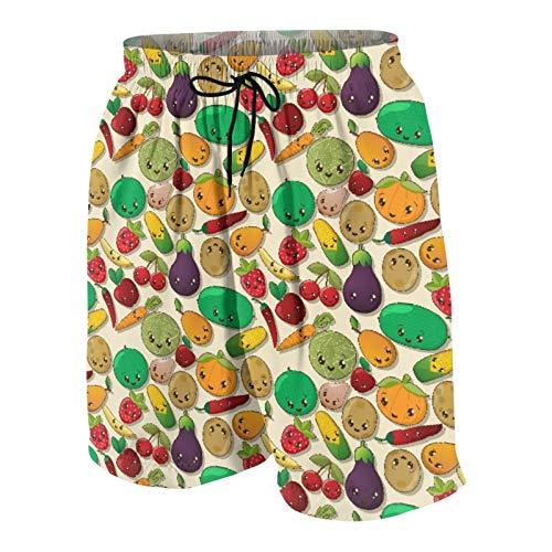 KOiomho Hombres Personalizado Trajes de Baño,Varias Verduras y Frutas con Kawaii se enfrentan a Alimentos saludables como Personajes Dulces,Casual Ropa de Playa Pantalones Cortos