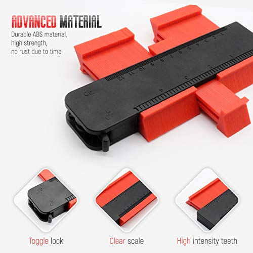 Contour Gauge with Lock, 5 Inch Contour Gauge Duplicator Multi-functional Shaping Measure Ruler for Easy Cutting Corners Precise Measurement Tiling Laminate Woodworking Tools