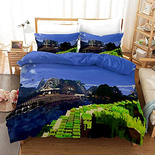 2 Pieces 3D Minecraft Print Duvet Cover Set Single Kids Game Themed Bedding Sets with Zipper Closure, No Comforter, 135 * 200 cm
