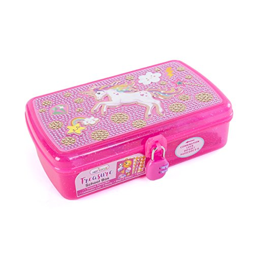 Hot Focus Treasure School Box with Lock – Unicorn Girls Pencil Case Box Includes Pencils, Notepad and Stickers
