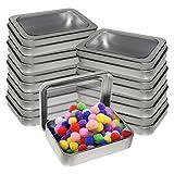 Kurtzy Cajas Metalicas Pequeñas (Pack 10) Latas de Aluminio Tapa Transparente...
