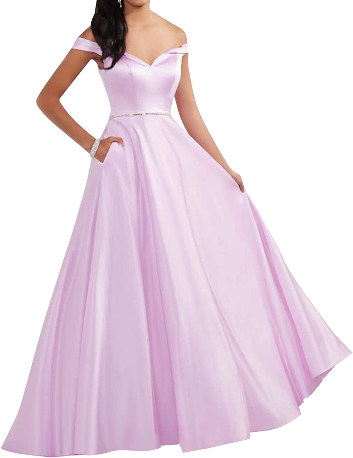 Homdor Off The Shoulder Prom Dresses Long ALine Backless Evening Ball Gown with Pockets