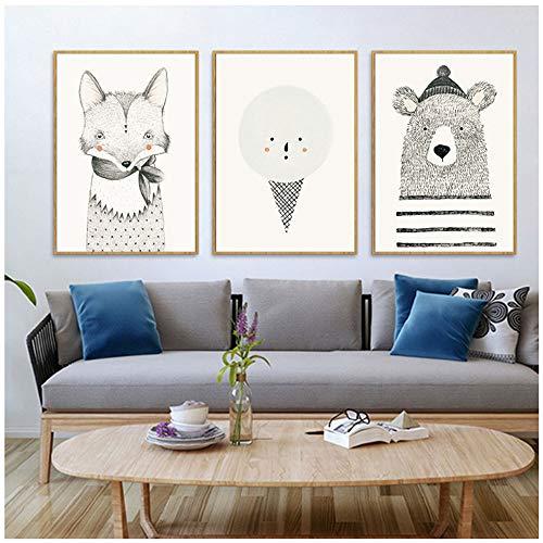 Canvas Schilderijen Nordic Eenvoudige Cartoon Dier Decoratief Schilderen Woonkamer Voorbeeld Slaapkamer Schilderij Muur Canvas Foto 40x60cm (15.7