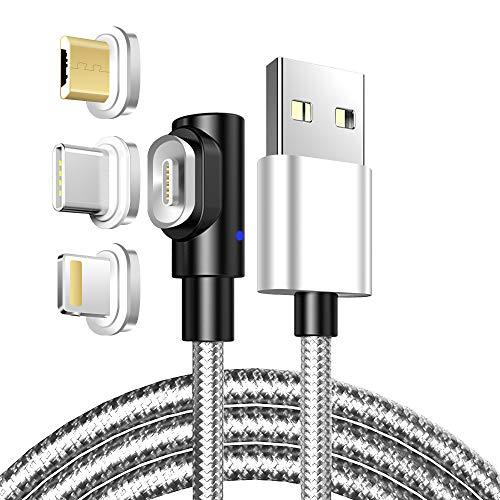 LAMA Cavo di Ricarica ad Angolo Retto, [3A 3.3ft] Carica Rapida Cavo Magnetico USB con Connettori Magnetici Micro USB i-Prodotti di Tipo C per Carica/Trasferimento Dati