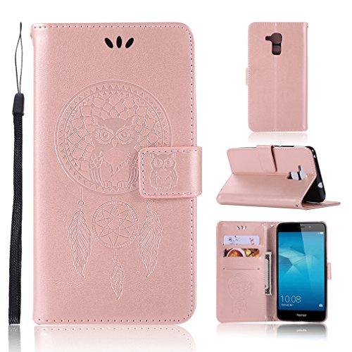LMAZWUFULM Hülle für Honor 5C / Huawei 7 Lite/Huawei GT3 (5,2 Zoll) PU Leder Magnetverschluss Brieftasche Lederhülle Eule & Traumfänger Muster Standfunktion Ledertasche Flip Cover Roségold