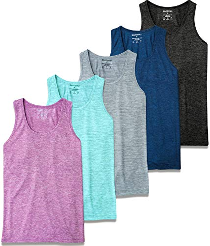 5 Pack:Women's Quick Dry Fit Dri-Fit Ladies Tops Athletic Yoga Workout Running Gym Active wear Exercise Clothes Racerback Sleeveless Flowy Tank Top - Set 1,M
