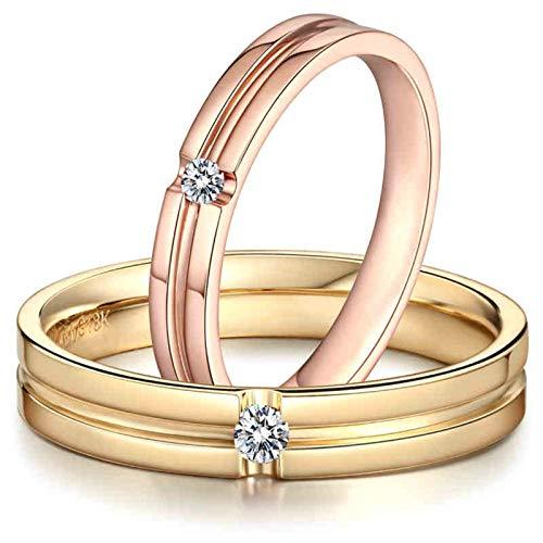 Bishilin 2 Piezas de Anillos de Pareja 18K Oro Mujer Talla 21 & Hombre Talla 21 Forma de Línea Anillos de Pareja Blanco Diamante Anillo de Compromiso de Aniversario Clásico Oro Rosa Dorado