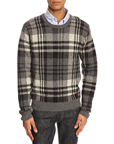 Scotch And Soda – Pull gris de Lambswool avec motif tartan pour homme - Gris -