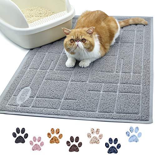 VIVAGLORY Katzenstreu Unterlage, Groß 90 × 60cm, strapazierfähige & wasserdichte katzenklo Matte, leicht zu reinigen, Grau