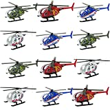 3.5 Inch Die Cast Helicopter – Set of 12 – Military, Police, Fire and EMS Helicopter Toys – Diecast Kids Helicopters in Bright Colors from Playko – Mini Toy Helicopters with Spinning Propellers
