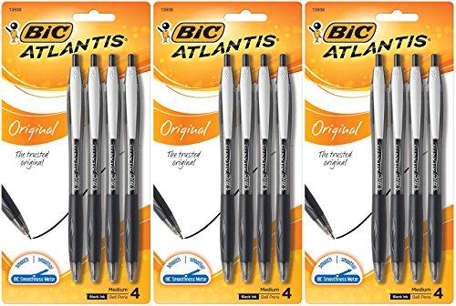 BIC Atlantis–Bolígrafos de punta de bola retráctil, punta mediana, color negro