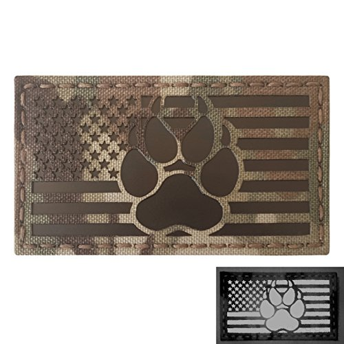 IR Multicam Infrared USA Flag K9 Dog Handler Paw K-9 Tactical Morale Fastener Patch