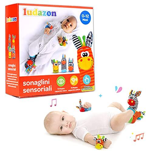 LUDAZON Sonaglini Sensoriali per lo sviluppo delle capacità intellettive, Giochi Neonato Montessori, Sonaglio in Morbido Peluche, Ideale per Regali Nascita Maschio o Femmina