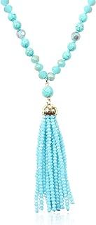 Bohemian Pendant Beaded Long Statement Necklace - Sparkly Crystal Bead Boho Teardrop, Natural Stone, Tassel Charm Wrap Lariat