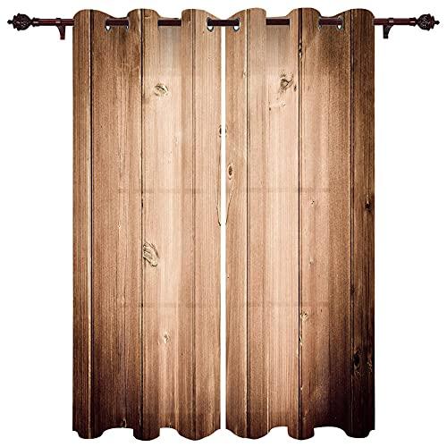 JRLTYU Cortinas de impresión Puerta de Madera marrón con Vetas de Madera 110x215cm x2 Cortina térmica,Opaca,con Ojales,insonorizante Cortinas Opacas para Salón Oficina Dormitorio