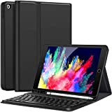 iPad 10.2 Case with Keyboard for iPad 7th Generation 10.2 2019 - Detachable Wireless Keyboard with Pencil Holder Stand Folio Cover for New iPad 10.2 Inch 7th Gen 2019, Black