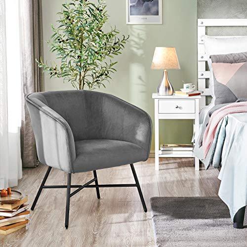 Yaheetech Sillón con reposabrazos, silla tapizada, silla de salón, asiento de terciopelo