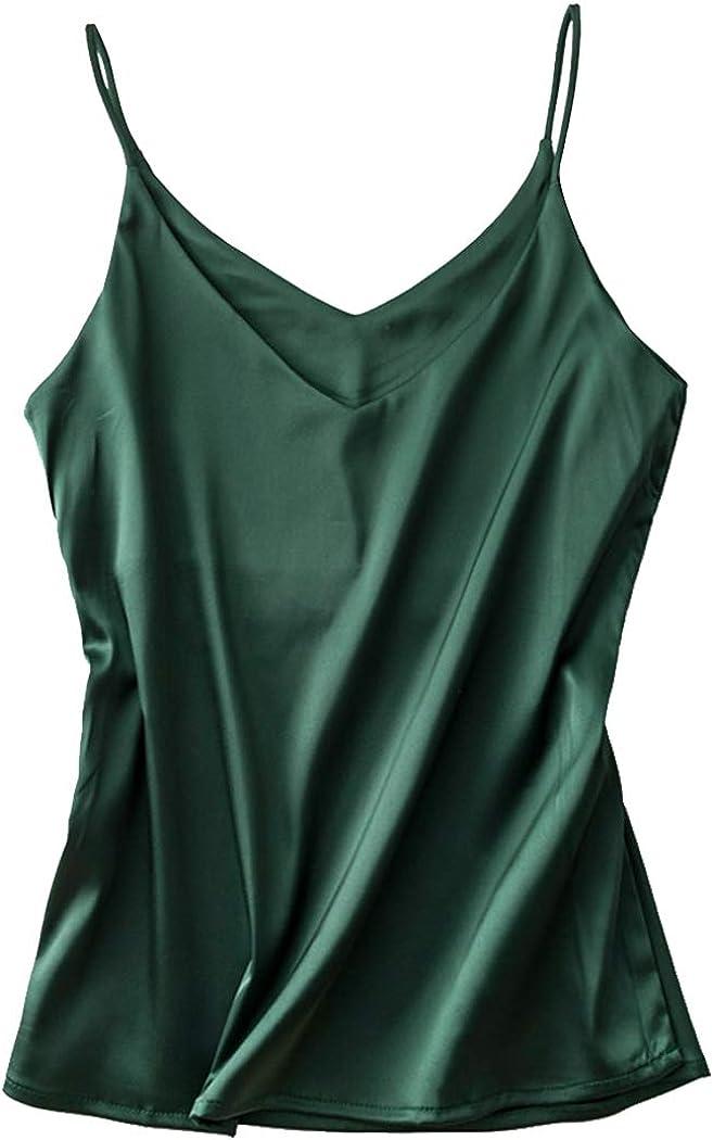 Silk Tank Tops for Women Satin Camisoles V Neck Spaghetti Strap Cami Plus Size Sleeveless Blouses