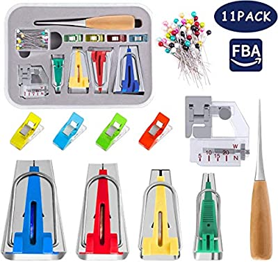 Bias Tape Maker – Bias Tape Maker Kit 11 Pcs – Bias Tape Maker Set Including Bias Binder Foot, Awl Tool, Ball Pins, Various Color Cloth Clips, and Measure Tools – Easy to Use Bias Binding Maker