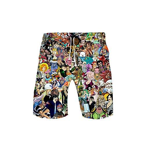 One Piece: Action Fever 3D Heren Shorts Zwembroek Zomer Sneldrogende Strandshort Heren Hip Hop Strandshort