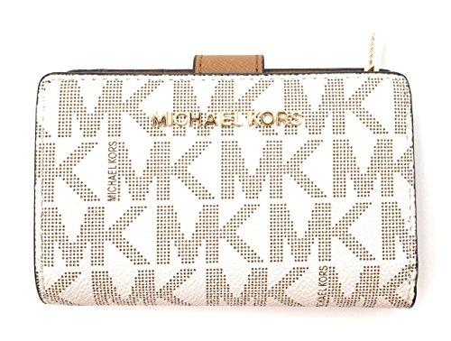Michael Kors Geldbörse - Weiss - Leder - MK Logo allover - 3x8x13cm - JET SET TRAVEL - Damen
