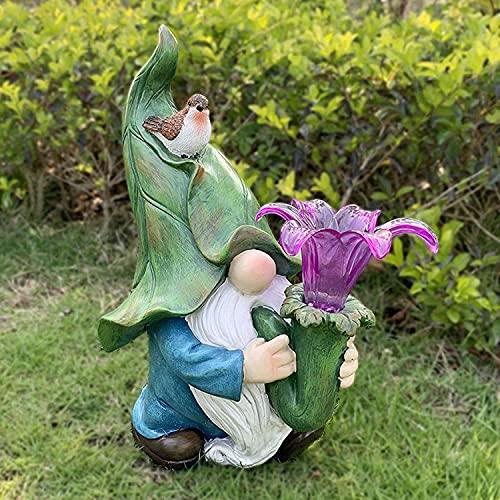 LMOfficeHub Garten Dekor Outdoor Gnom Statue, Harz Garten Figur mit Morning Glory Solar LED-Licht, Gnom Statue Fee Lampe für Patio Lawn Yard Art Decor Ornamente Geschenk
