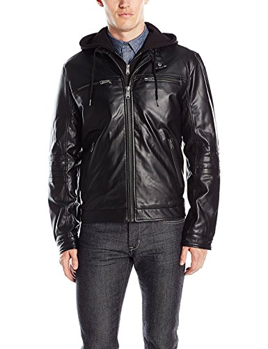 Lucky Brand Men's Archibald Faux Leather Moto Jacket, Black, X-Large