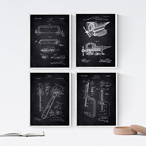 ZWART - Pak van 4 vellen met gereedschapspatenten 2. Set posters met uitvindingen en oude patenten. Kies de gewenste kleur. Gedrukt op hoge kwaliteit 250 gram. Nacnic