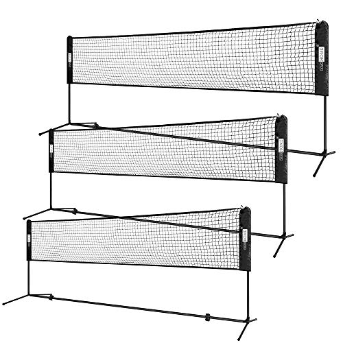 KIKILIVE Portable Badminton Net with Stand Carrying Bag Beach Sports No Tools or Stakes Required Backyard Volleyball Tennis Net Rack for Indoor Outdoor Court
