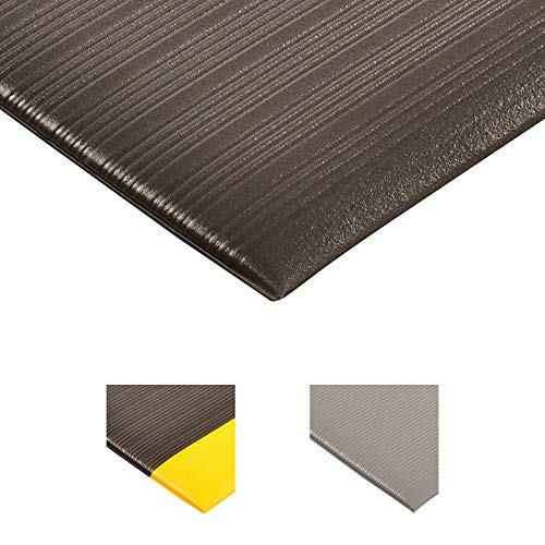 NoTrax 410 PVC Airug Safety/Anti-Fatigue Floor Mat, for Dry Areas, 3' Width x 5' Length x 3/8' Thickness, Black