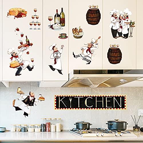 decalmile Adesivi Murali Cucina Chef Adesivi da Parete Vino e Cena Decorazione Murale Cucina Sala da Pranzo Ristorante