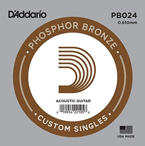 D'Addario PB024 Phosphor Bronze Einzelsaite für Gitarren 0,06 cm (0,024 Zoll)