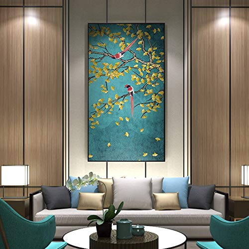 UIOLK Flower and Bird Posters and Prints Chinese Canvas Pictures Living Room Aisle Mural Pictures Home Decor