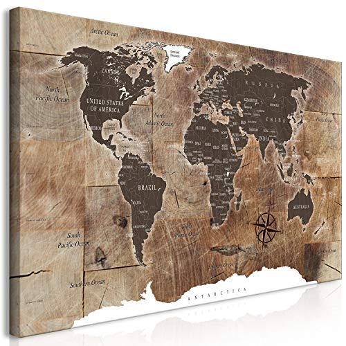 murando Wandbild Mega XXXL Weltkarte 160x80 cm Einteiliger XXL-Format Kunstdruck zur Selbstmontage Leinwandbilder Moderne Bilder DIY Wanddekoration Wohnung Deko Holz k-C-0050-ak-h