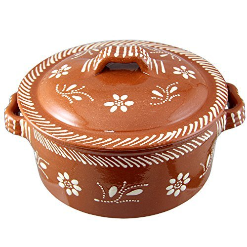 Vintage Portuguese Traditional Clay Terracotta Casserole With Lid Made In Portugal Cazuela (N.2 8' Diameter)