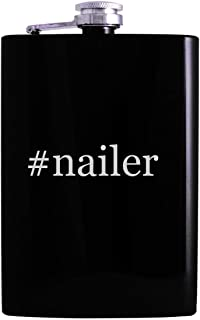 #nailer - 8oz Hashtag Hip Alcohol Drinking Flask, Black