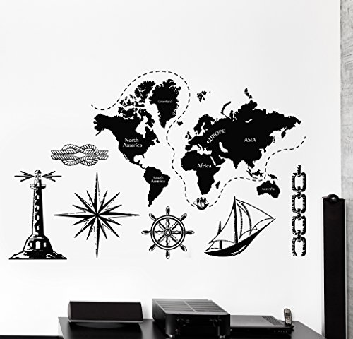 WallStickers4ever Large Vinyl Wall Decal World Map Atlas Continents Africa Europe Noth America Decor z4480 White