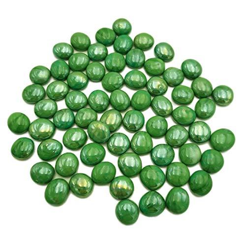 Armena Glasnuggets glazen stenen ondoorzichtig decoratieve glazen kralen diameter 17-20mm 300g (ongeveer 75 stuks), Niet transparant. glanzend groen