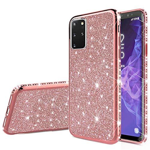 Nadoli Glitzer Hülle für Galaxy S20,Ultradünne Funkeln Skin Weich Diamant Überzug Rahmen Glänzend Silikon Strass Etui Handyhülle Schutzhülle für Samsung Galaxy S20