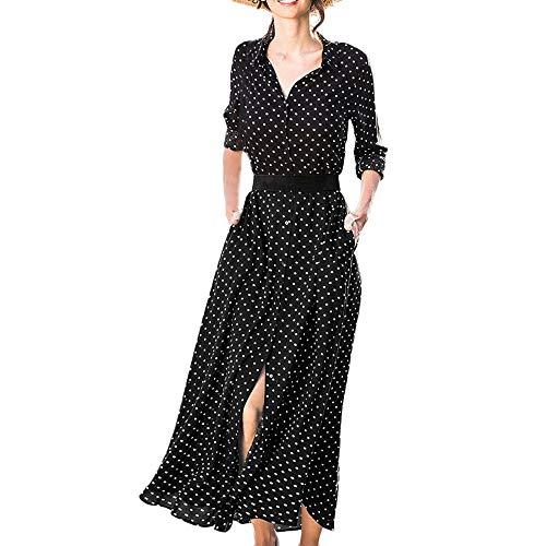 Kingko® Kleider Damen Elegante V-Ausschnitt Polka Dots Casual Hemdkleid Shirt Kleid Oberteil Kleid Maxikleid mit Gürtel (M, Schwarz)
