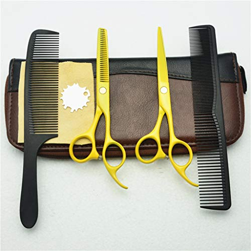 Great Price! NSST Cutting Scissors Set 4 Pcs Yellow Hairdressing,Cutting and Thinning Scissors Kit 5...