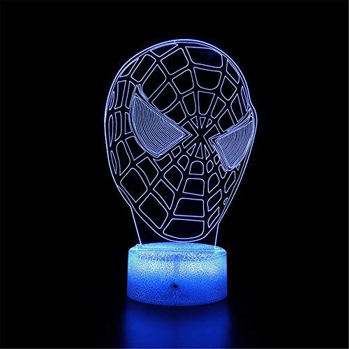 Veilleuse 3D Spiderman Lampe d'ambiance 16 couleurs changeantes avec télécommande et touche intelligente, Noël et anniversaire