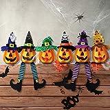Unomor 6 Pack Halloween Pumpkin Decorations, Light Up Foam Pumpkin Jacko Lanterns for Halloween Indoor and Outdoor Decorations