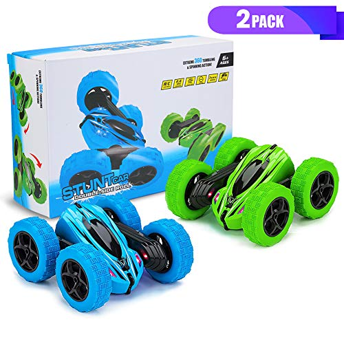 2PACK RC Stunt Car, Remote Control Car, 2.4Ghz High Speed Rock Crawler Vehicle,360 Rotating 4WD Off Road Double Sided Rotating Tumbling Rc Car with LED Headlights,Best Gift for Kids( Green/Blue).