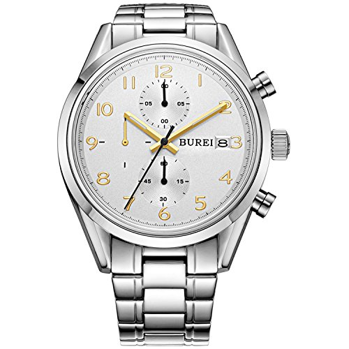 BUREI Men Chronograph Watches with Day Date Analog Dial Genuine Leather Strap & Stainless Steel Watch Band (BM-7005-P51AG-1XG)