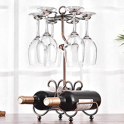 ALEOHALTER Soporte independiente para copas de vino, gran capacidad, soporte para botellas de cristal, anillo colgante en forma de G