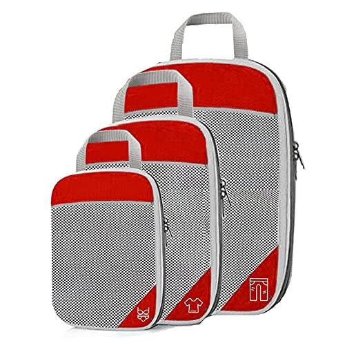 BAIGM Organizador de maletas de viaje, bolsa de compresión, Cubos, bolsas de compresión, organizador para equipaje en viajes, juego de 3 cubos para llevar de viaje